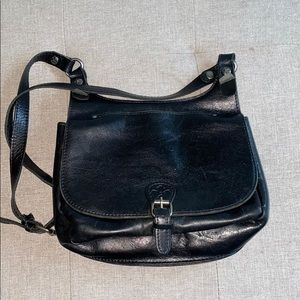 Patricia Nash black leather messenger style